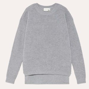 Aritzia Wilfred free Isabelli 100% Merino wool light grey sweater Large